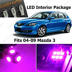 classy autos pink led lights interior package deal mazda 3 ms3 6 pieces automotive. Black Bedroom Furniture Sets. Home Design Ideas