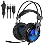 SADES A55 3.5mm Jack Lightweight Stereo Gaming Headset Headphones for Pro PC Gamer with Microphone LED Light Vibration and Volume-Control Mute Botton(Blue)