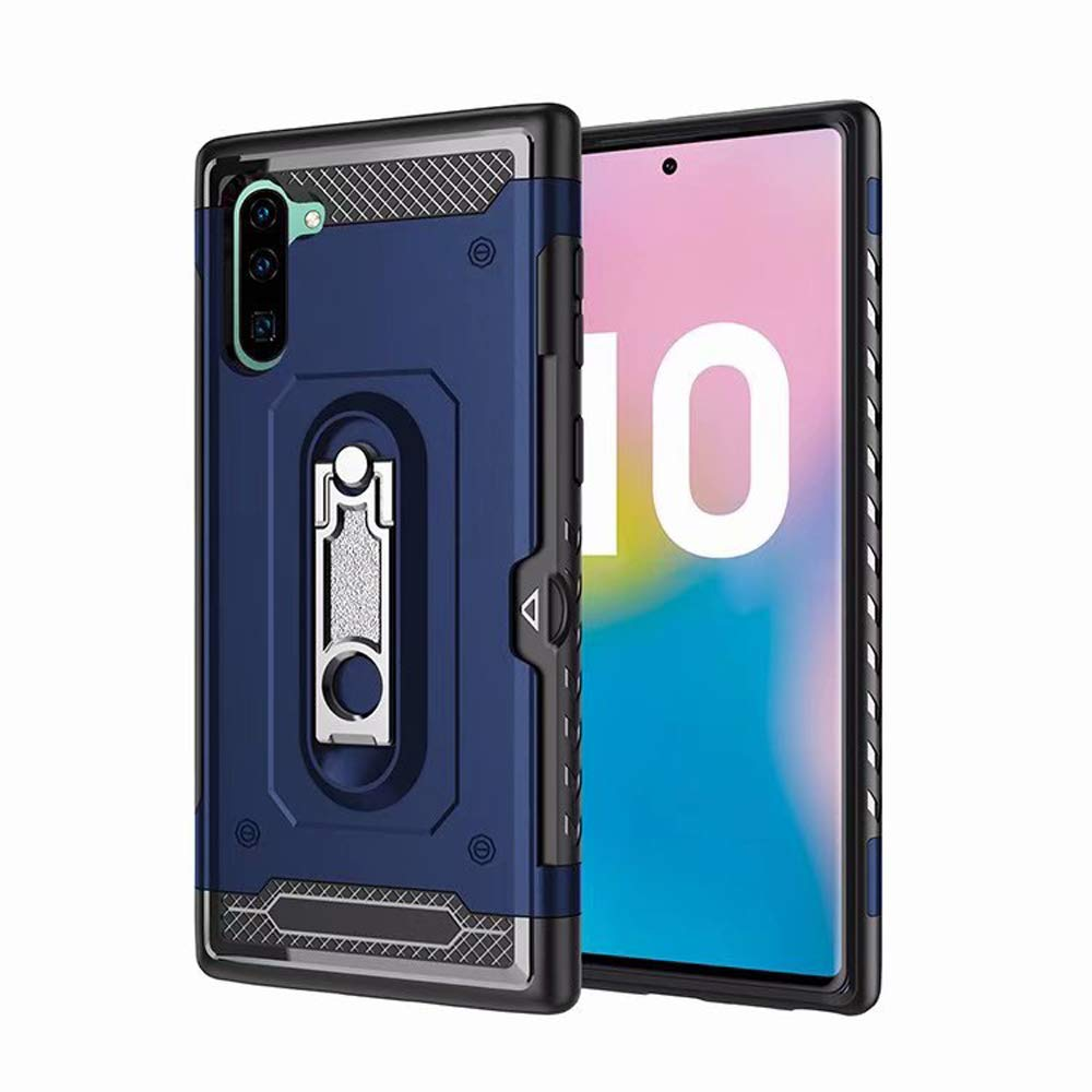Tznzxm Galaxy Note 10 Case, Fashion Slim Fit Armor Ring Kickstand with [Card Slots Wallet Holder] Drop Protective Defender Shockproof Non Slip Back Case for Samsung Galaxy Note 10/10 5G Blue by Tznzxm