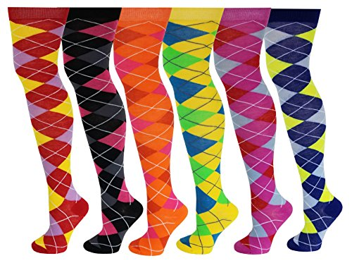 6 Pairs Pack Women Multi Neon Color Fancy Design Thigh High Over the Knee Socks Stockings (6 pairs Argyle)