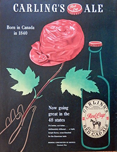 Carling's Red Cap Ale, Vintage Print Ad. the Carling's code. Original Magazine Art