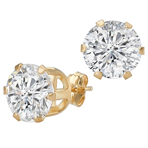 14k Yellow Gold 8mm CZ Solitaire Stud Earrings (3.00ctw)
