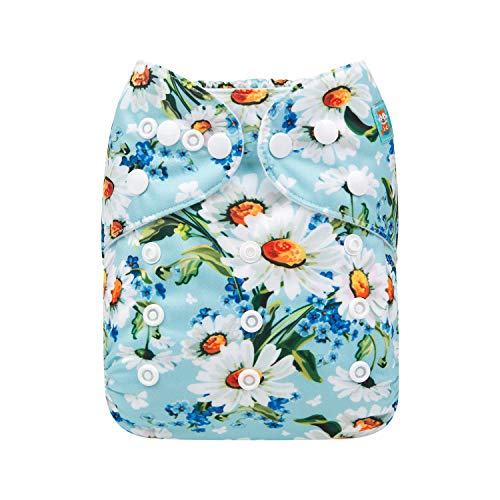 ALVABABY Cloth Diapers One Size Adjustable Washable Reusable One Pocket Nappy for Baby Girls and Boys with 2 Inserts (White Flower, H162)