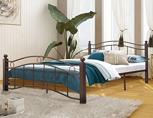 Harper&Bright Designs Bronze Metal Bed Frame with Headboard and Footboard No Box Spring Required Full by Harper&Bright Designs