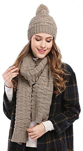 Bienvenu Women Fashion Winter Warm Knitted Scarf and Hat Set Skullcaps,Light Coffee