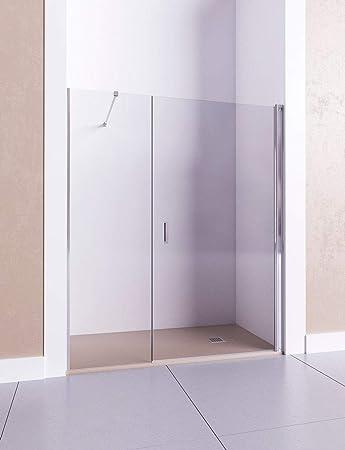 Modelo HADES I - Mampara de ducha frontal de 1 puerta abatible y 1 fijo continuo - Cristal 6 mm con ANTICAL INCLUIDO: Amazon.es: Bricolaje y herramientas