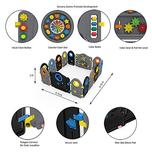 Grey Black Baby Playpen - 14 Panel Kids Activity Center Portable Playard, Indoor and Outdoor Baby Fence - Safe Play Yard Play Pen with Games & Gates for Infants (Multicolor, 14 Panels)
