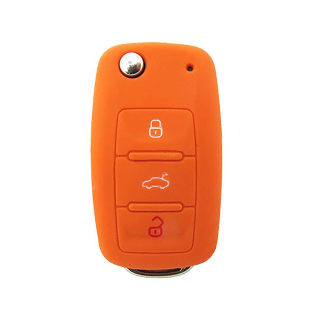 ZX101 Silicone Car Key Protective Cover Case for VW Golf Bora Jetta Polo Golf Skoda Orange