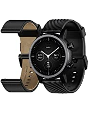 Moto360 Smartwatch 3rd Gen, 42.8mm, Stainless Steel Case, Gorilla Glass 3, AMOLED Display, Fast Charging, Water Resistant, Leather & Silicone Strap, Wear OS - Phantom Black