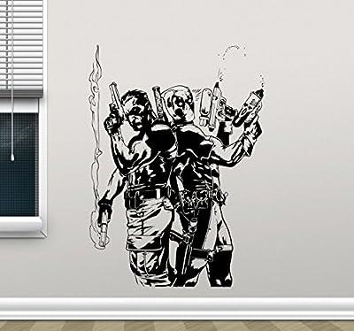 Punisher Deadpool Wall Vinyl Decal Marvel Superhero Wall Sticker Video Game Gaming Wall Decor Cool Wall Art Kids Teen Room Wall Design Modern Bedroom Wall Decor Mural 143zzz