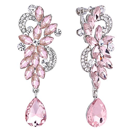 BriLove Wedding Bridal Clip On Earrings for Women Bohemian Boho Crystal Flower Chandelier Teardrop Bling Long Dangle Earrings Pink Tourmaline Color Silver-Tone
