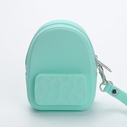 Mochila de silicona para auriculares, bolsa de almacenamiento, portátil, monedero para niños verde menta