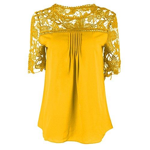 Blusas Camisas Camisetas Tops Manga Corta Encaje Elegante y Confortable Amarillo