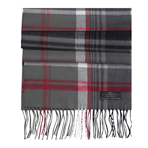 Messerio Plaid Herringbone% 100 Cashmere Scarf Women and Men Super Soft Luxurious Winter Shawl with Gorgeous Gift Box - (Grey Red & White Plaid)