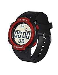 Susenstone Fashion Waterproof Men's Boy LCD Digital Stopwatch Date Rubber Sport Wrist Watch (Red)