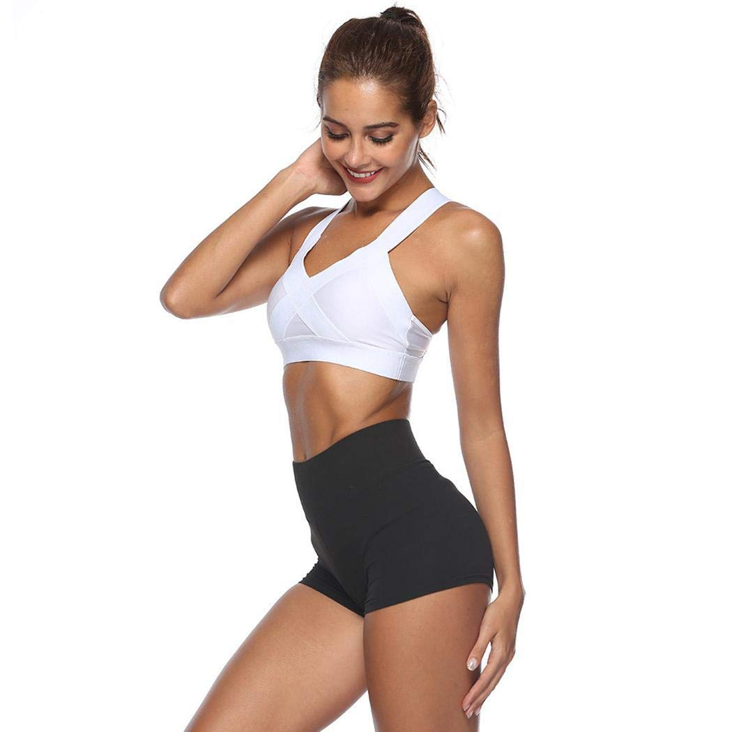 Eubell Women Casual Solid High Waist Fitness Workout Running Yoga Shorts