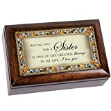 Cottage Garden Sister Jeweled Dark Wood Finish Jewelry Music Box - Plays Tune You Light Up My Life