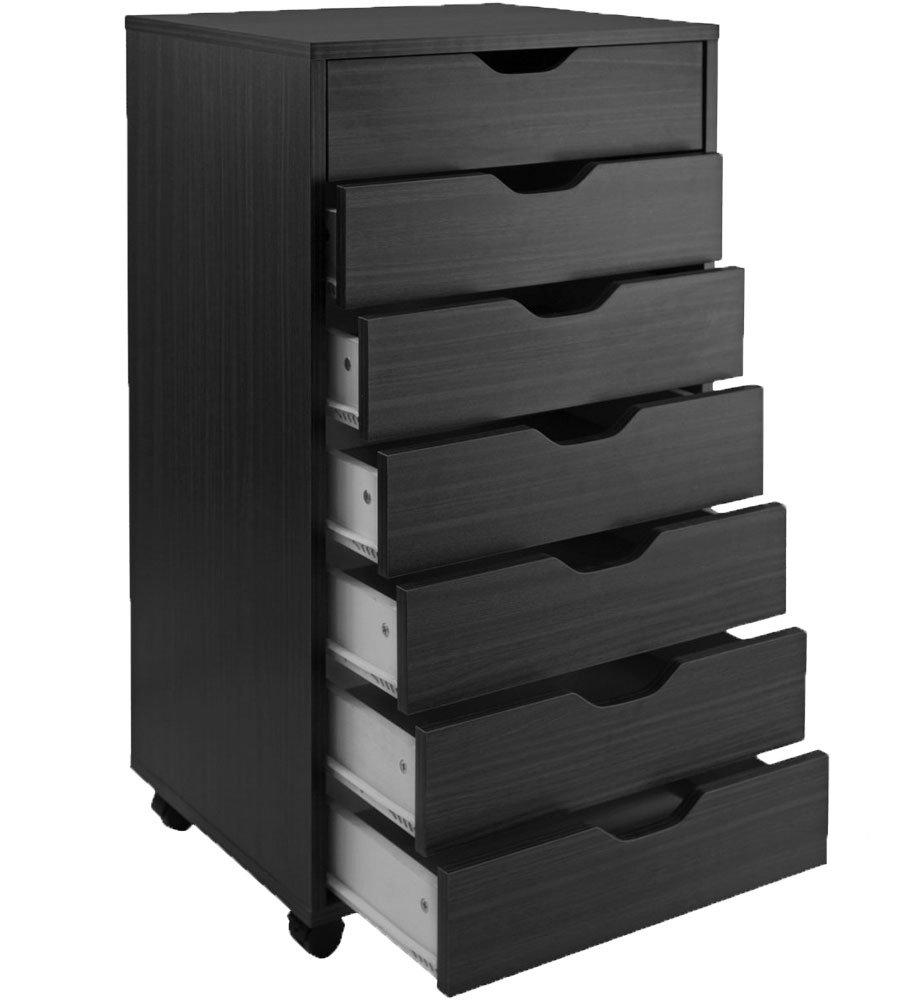 K&A Company 7 Drawer Storage Cart, 19.25'' x 35.50'' x 16'' x 61 lbs, Black