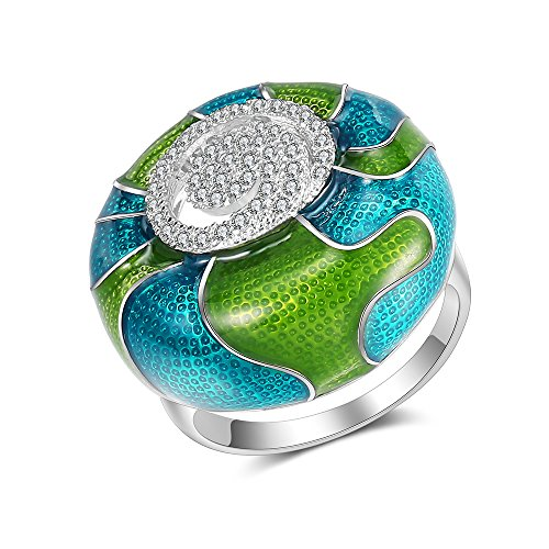 Mytys 18K White Gold Plated CZ Crystal Rings Flower Pattern Colorful Enamel Rings Glazed Costume Jewelry(Green) by Mytys (Image #6)