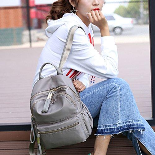 impermeabile donna Zaino KofunBorsa viaggio da nylon da a borsa Grigio in spalla Bookbags wrqwPO0