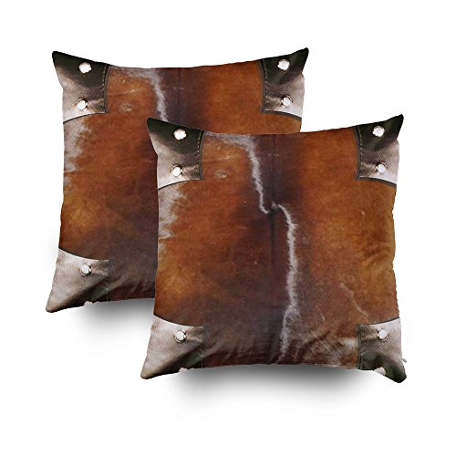 TOMWISH 2 Packs Hidden Zippered Pillowcase Leather Faux Simulated Western Cowhide Style 103 18X18Inch,Decorative Throw Custom Cotton Pillow Case Cushion Cover for Home