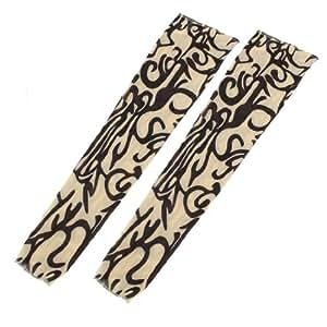 Leg Tribal Swirl Prints Nylon Washable Slip on Tatoo Sleeve 2Pcs