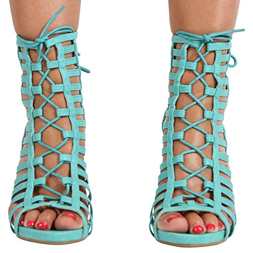 CORE COLLECTION Women Ladies Stiletto Lace up HIGH Heel Ankle Strappy Cut Out Sandals Shoes Size 3-8 Aqua Snake Pu r4LYf