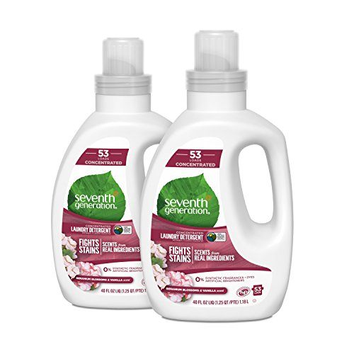 Eco Friendly Laundry Soap (Seventh Generation Concentrated Laundry Detergent, Geranium Blossoms and Vanilla, 106 loads, 40 oz, 2 Pack (Packaging May Vary))