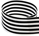 Black and White Striped Grosgrain Ribbon 1 ½ Inch 30 Yards | Double Face, Premium, Fabric Ribbon, 1.5 Inch, 3 Rolls, 10 Yards Each | Gift Wrap Ribbon for Weddings, Bridal Showers, Christmas, Holidays