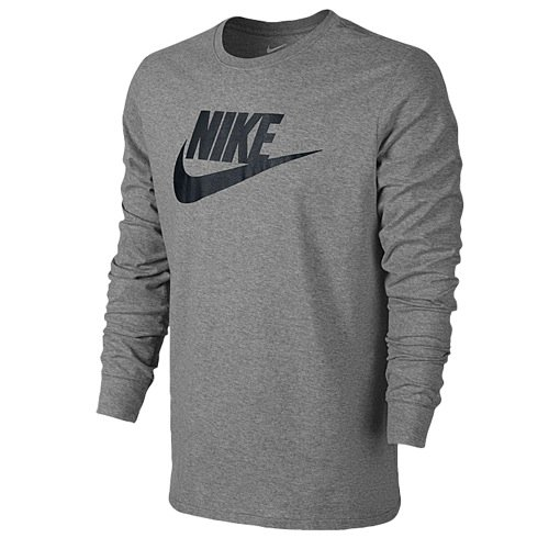 NIKE Men's Futura Icon Long Sleeve Tee Dark Grey Heather/Black T-Shirt 2XL