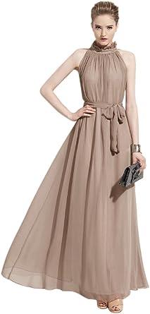 Vestiti Per Cerimonia Estivi.Vestito Lungo Donna Estivo Elegante Abito In Chiffon Collo Senza