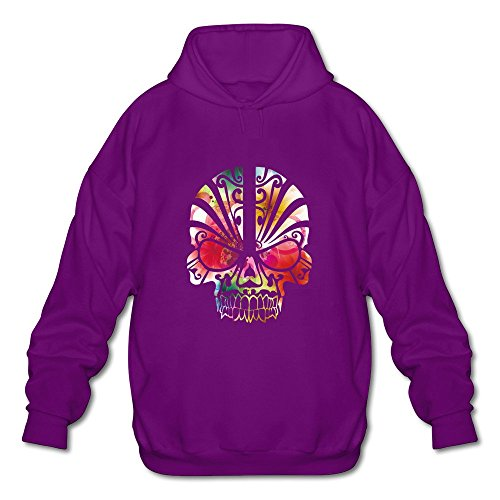Men's Color Skull Long Sleeve Hooded Sweatshirt XX-Large Purple