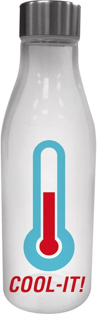 Cypress Home Cool It Glass Water Bottle with Metal Lid