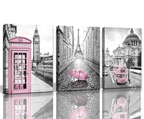 Paris Eiffel Tower Decor for Bedroom for Girls Pink Paris Theme Room Decor Wall Art Canvas Black and White Art Eiffel Tower Pictures Decorations London Big Ben Tower Eiffel Tower Painting Framed -