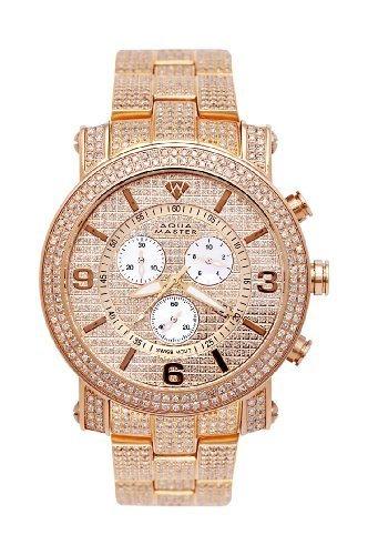 NEW! Aqua Master Men's Power Two-Row Diamond Watch with Diamond-Cut Dial & Full Diamond Case, 11.50 (Two Row Diamond Watch)