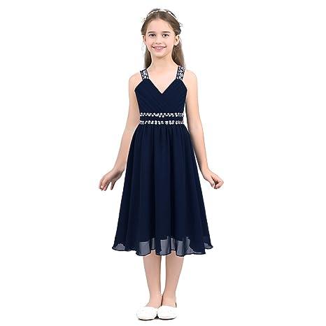 dPois Mädchen Kleid Festlich Hochzeit Kleid Blumenkinder Lang Chiffon Kleid Prinzessin Kleid Partykleid Festzug Abendkleid Co