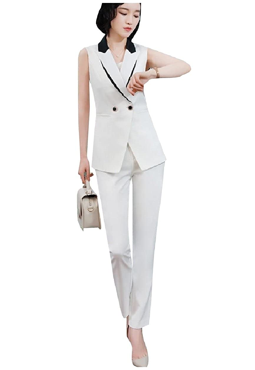 Tootless-Women Pinstripe Vests Notch Collar Blazer 3 Pieces Outfits Suit