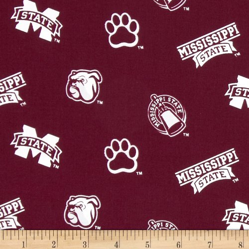 Sykel Enterprises Collegiate Cotton Broadcloth Mississippi State Red Fabric By The - Mississippi Logo State Square