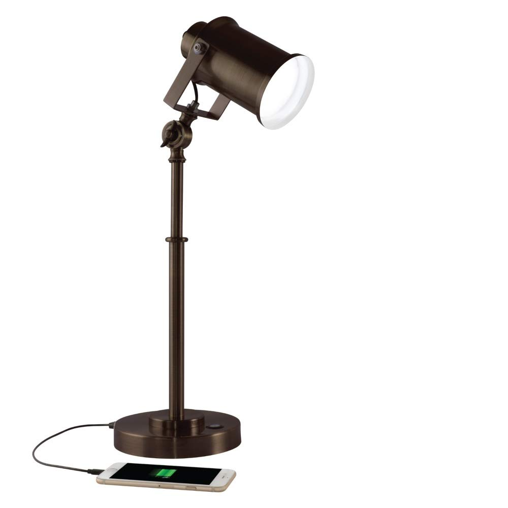 OttLite Restore LED Desk Lamp with 2.1A USB Port, Bronze by OttLite