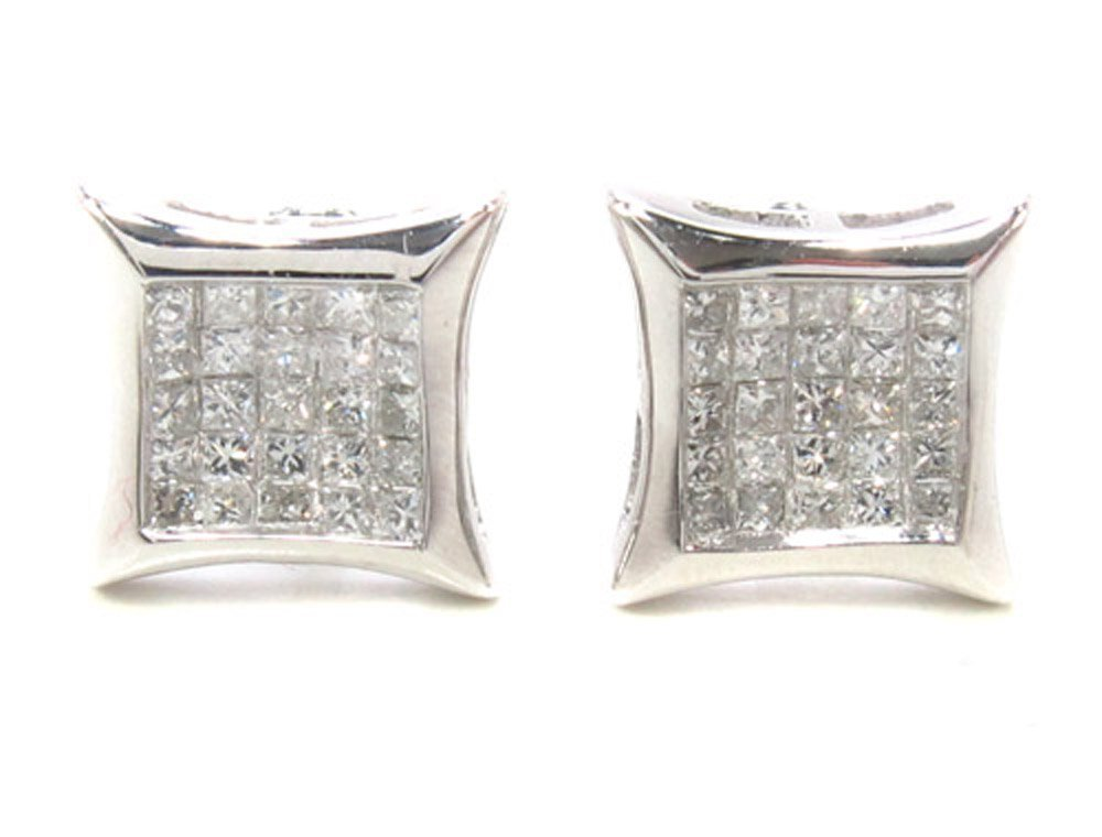 14K White Gold Invisible Diamond Stud Earrings (0.49 cttw, G Color, SI1 Clarity)