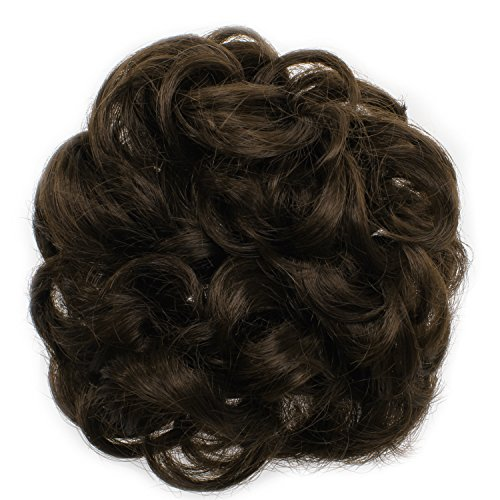 OneDor Ladies Synthetic Wavy Curly or Messy Dish Hair Bun Extension Hairpiece Scrunchie Chignon Tray Ponytail (6#-Chestnut Brown) from OneDor