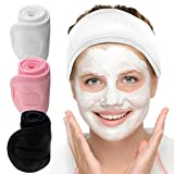 Dreecy 3 Pack Spa Facial Headband with Velcro, Non-slip Stretchable Terry Cloth Head Wrap Headband Towel Make up Headband Shower Bath Headband, 3.5' Width
