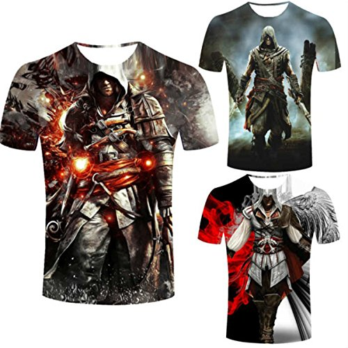 3 Styles Assassins Creed Men's T-Shirt Short Sleeve Assassin's Costume T Shirt (3XL/4XL(US)=5XL(Asia), Gray) - Assassin's Creed 2 Costume Cosplay