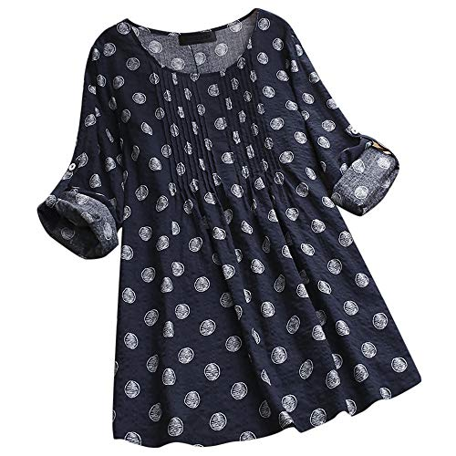 (Sunhusing Women's Cozy Cotton Linen Large Size Tunic Tops Loose Polka Dot Print Long Roll Sleeve Shirt)