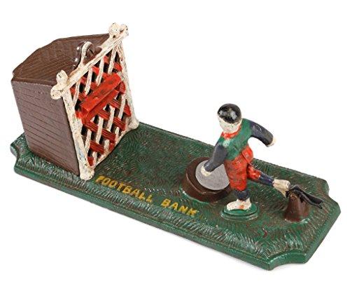 SafeDeals Antique / Vintage Style Cast Iron Mechanical Football Money Box Money Bank Piggy Bank