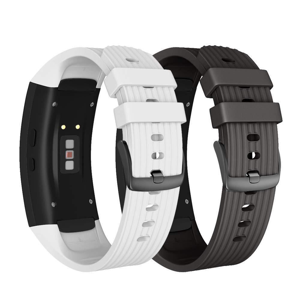 NotoCity Correa para Samsung Gear Fit 2 / Gear Fit 2 Pro Silicona Pulsera de Repuesto (L, Negro+Blanco)