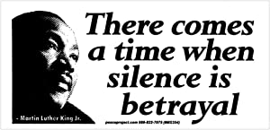 Peace Resource Project Martin Luther King Jr. MLK Quote - There Comes a Time When Silence is Betrayal Small Bumper Sticker Laptop Decal 5-by-2.5 Inches