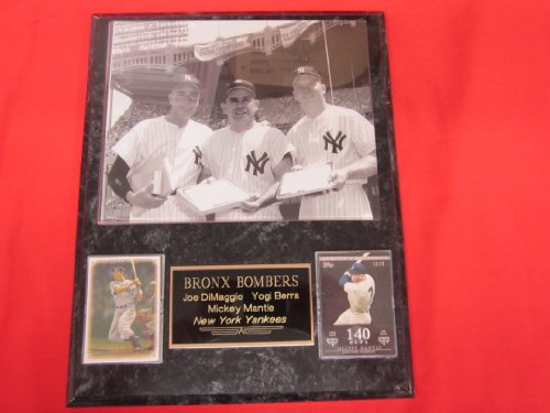 Mickey Mantle Yogi Berra Joe DiMaggio 2 Card Collector Plaque w/8x10 RARE Photo