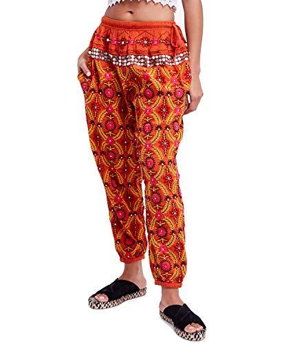 Free People Women's Marrakesh Embellished Cotton Harem Pants (Orange, Medium)