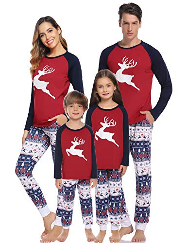 Aibrou Pijamas de Navidad Familia Conjunto Pantalon y Top Pijamas Mujer Hombre